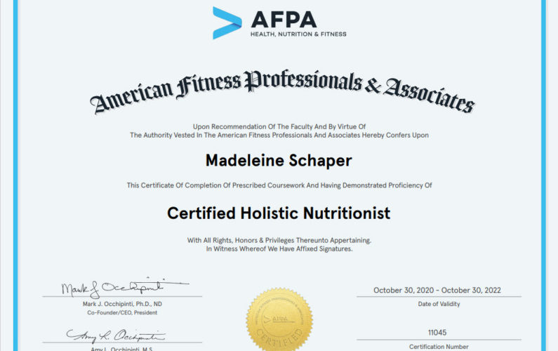 Certification of Completion Holistic Health Coach