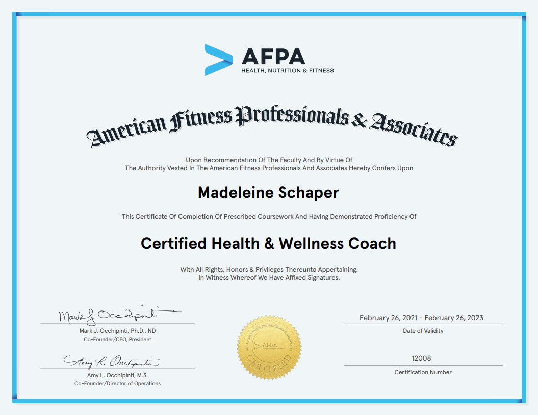 Certification of Completion Health and Wellness Coach